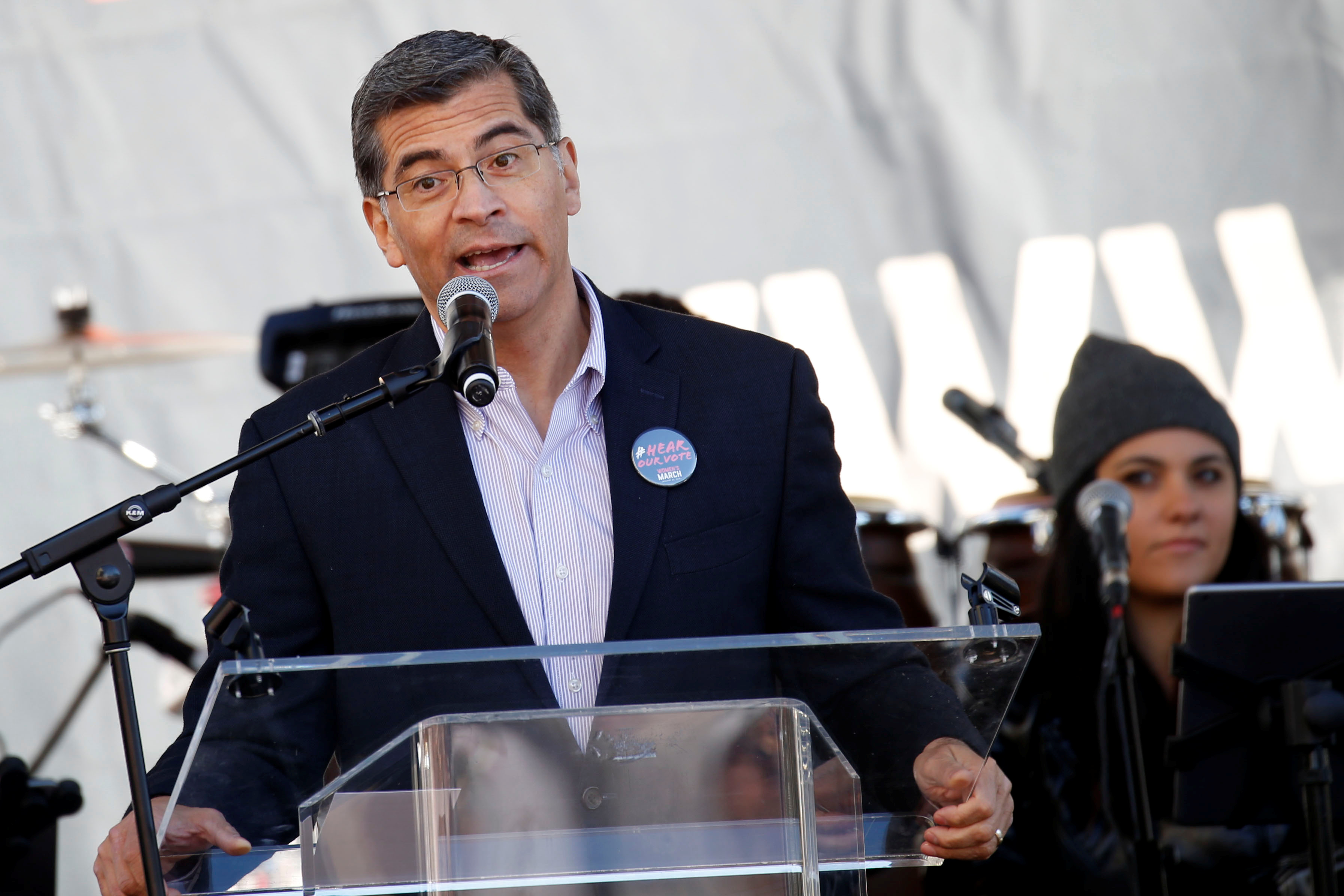 California Attorney General Xavier Becerra speaks at the second annual Women's March in Los Angeles, California