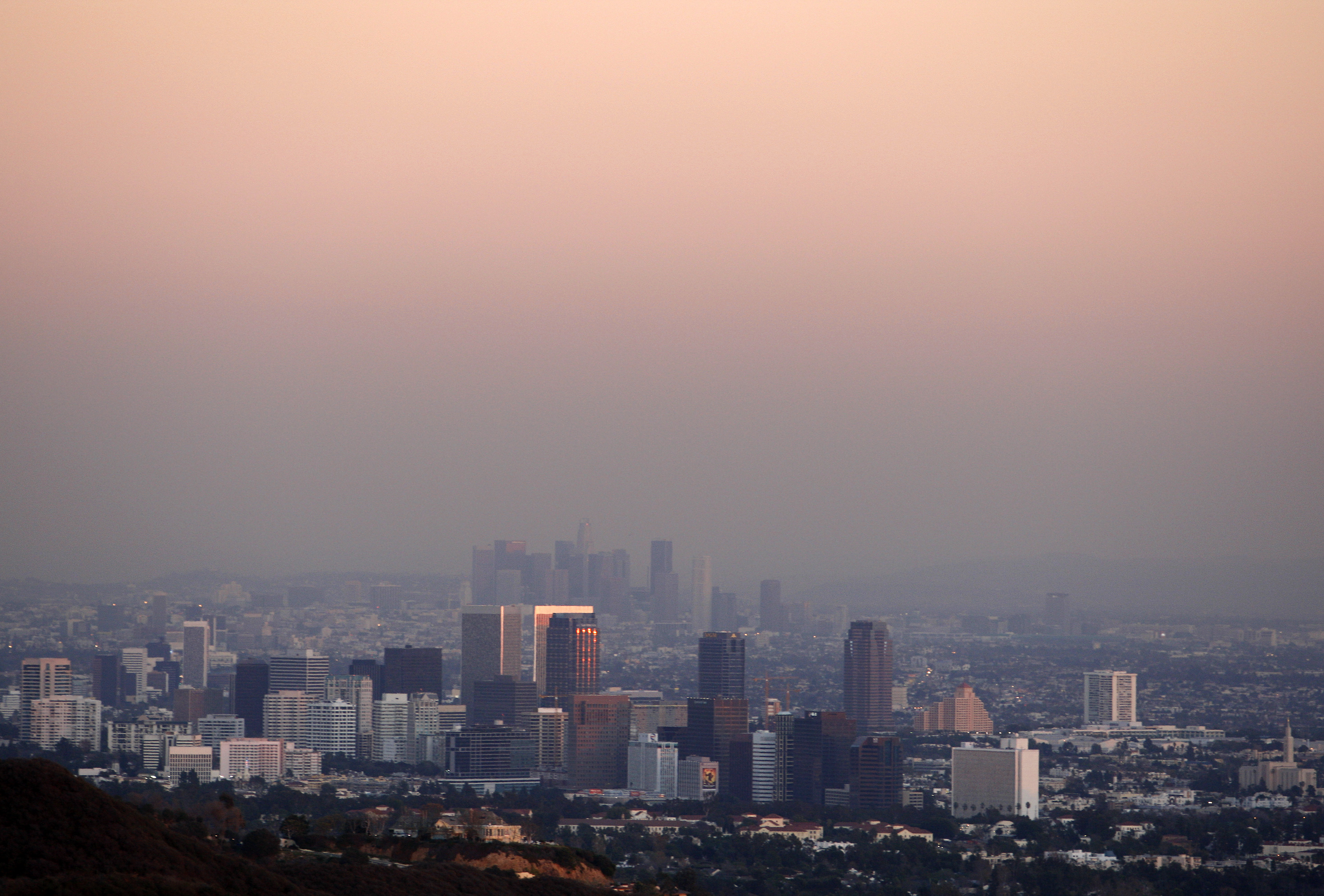 Century City and downtown Los Angeles are seen through the smog