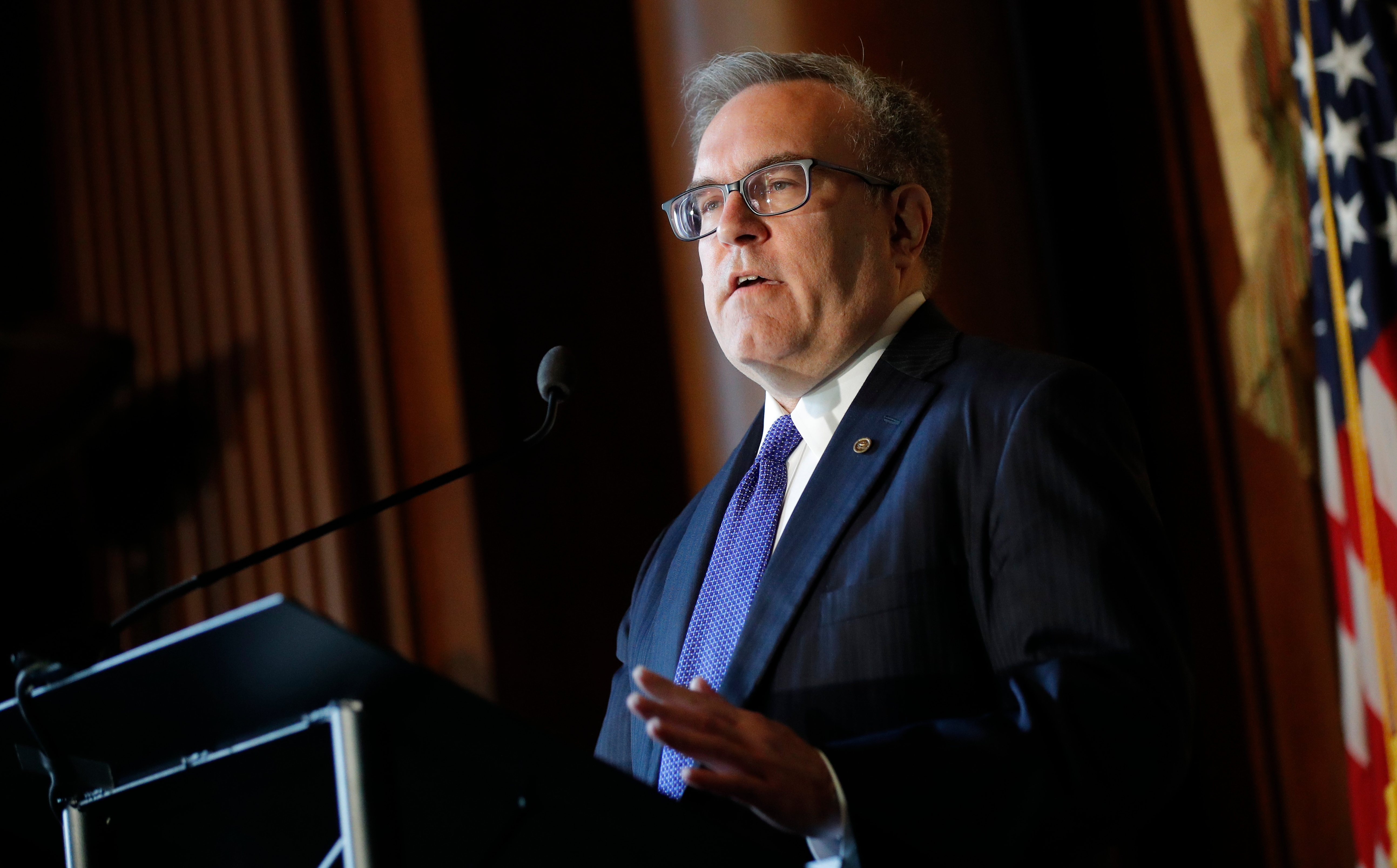 U.S. Environmental Protection Agency (EPA) Acting Administrator Andrew Wheeler addresses staff at EPA headquarters in Washington