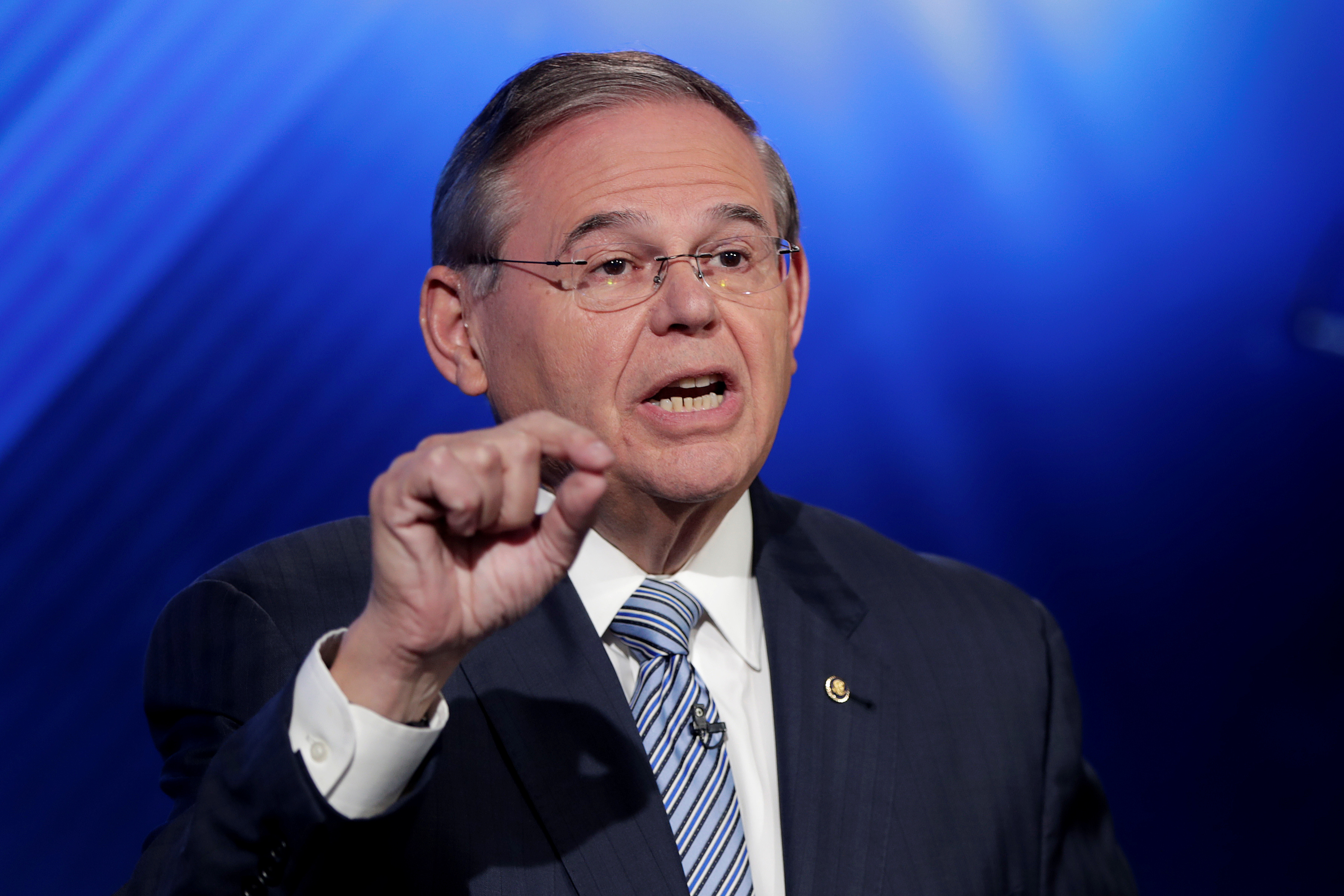 New Jersey Senator Bob Menendez, the Democrat candidate for the U.S. Senate race in New Jersey, speaks during a debate with Bob Hugin, the Republican candidate, in Newark, New Jersey, U.S., October 24, 2018. Julio Cortez/Pool via Reuters - RC1AAA1E0A70