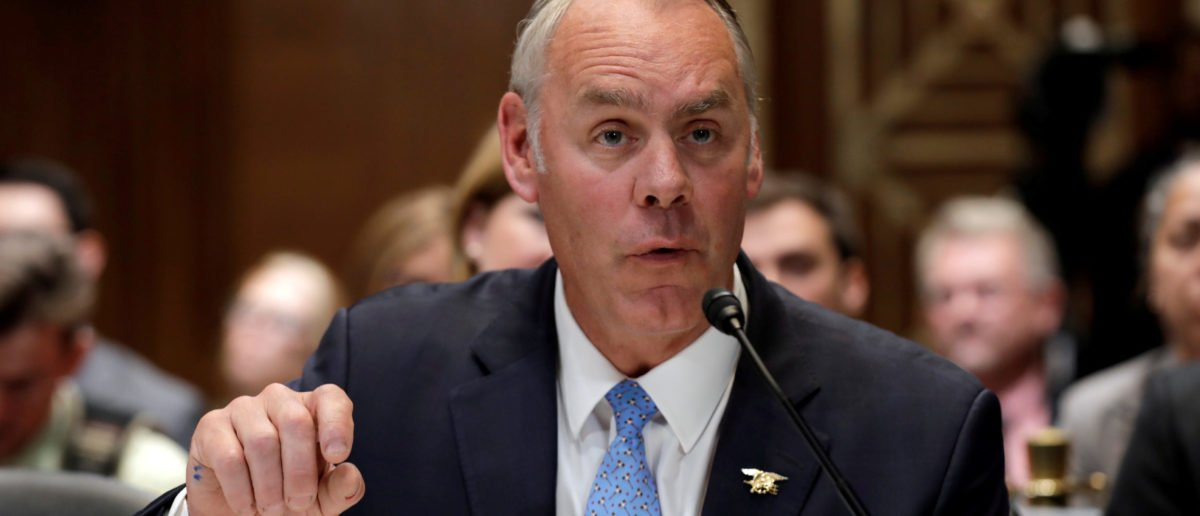 U.S. Interior Secretary Ryan Zinke testifies before a Senate Appropriations Interior, Environment and Related Agencies Subcommittee hearing on the FY2019 funding request and budget justification for the Interior Department, on Capitol Hill in Washington, U.S., May 10, 2018. REUTERS/Yuri Gripas.