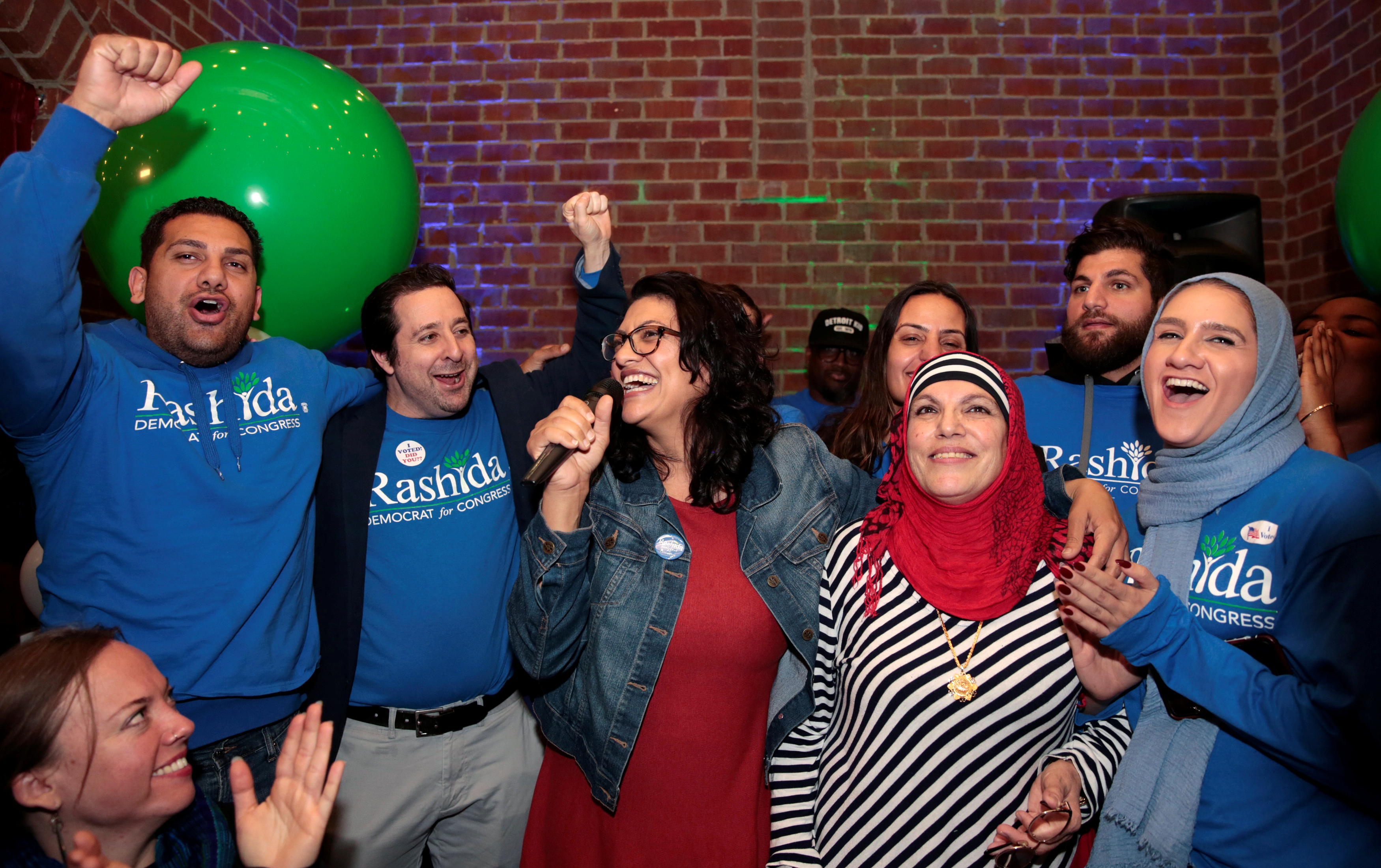 Democratic U.S. congressional candidate Rashida Tlaib celebrates with family and friends at her midterm election night party in Detroit, Michigan, U.S. November 6, 2018. REUTERS/Rebecca Cook