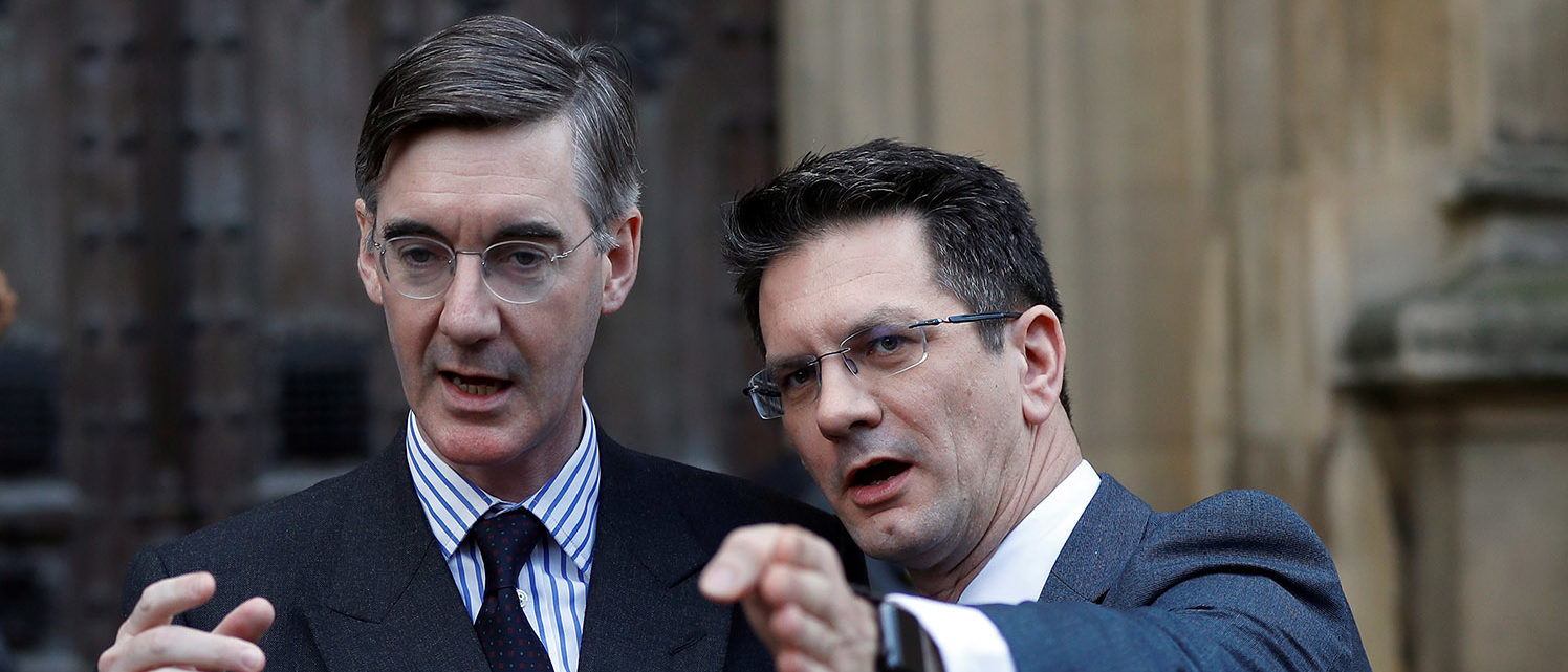 British Member of Parliament, Jacob Rees-Mogg, speaks from St Stephen's Entrance at the Houses of Parliament, with Steve Baker, in London, Britain November 15, 2018. REUTERS/Peter Nicholls