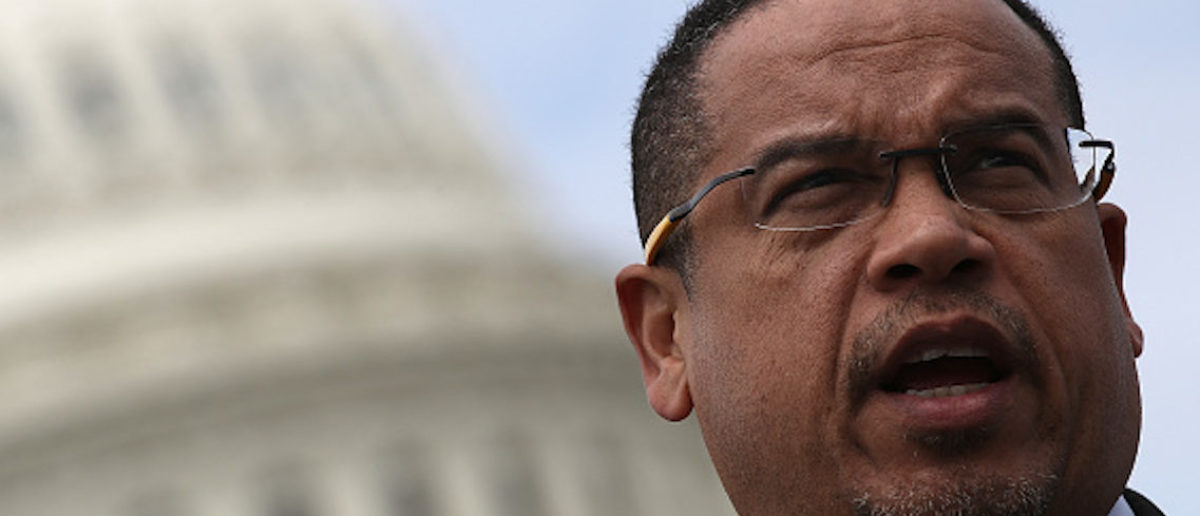 """WASHINGTON, DC - MARCH 21: Rep. Keith Ellison (D-MN) waits to speak during a press conference outside the U.S. Capitol in opposition to the involvement of U.S. military forces in Syria March 21, 2017 in Washington, DC. U.S. members of Congress voiced their concern about """"escalating U.S. involvement in the Syrian Civil War? during the event. (Photo by Win McNamee/Getty Images)"""