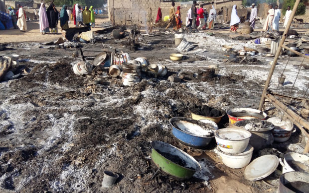 A general view shows the damage at a camp for displaced people after an attack by suspected members of the Islamist Boko Haram insurgency in Dalori, Nigeria November 1, 2018. REUTERS/Kolawole Adewale