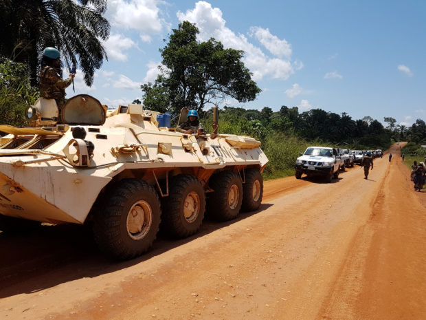 Peacekeepers from Bangladesh escort a World Health Organisation (WHO) convoy to Bunia, Democratic Republic of Congo, September 23, 2018.