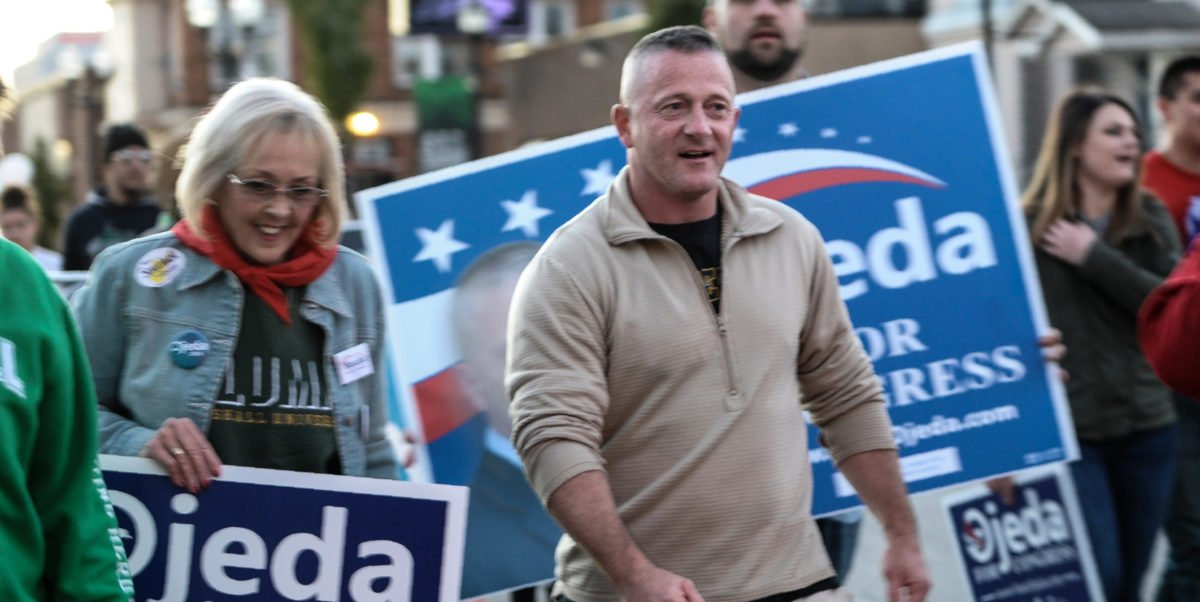 Democratic candidate for West Virginia's 3rd District Richard Ojeda marches in the homecoming parade for Marshall University in Huntington, West Virginia, on Oct. 18, 2018. (Photo by Michael Mathes / AFP) (Photo credit should read MICHAEL MATHES/AFP/Getty Images)
