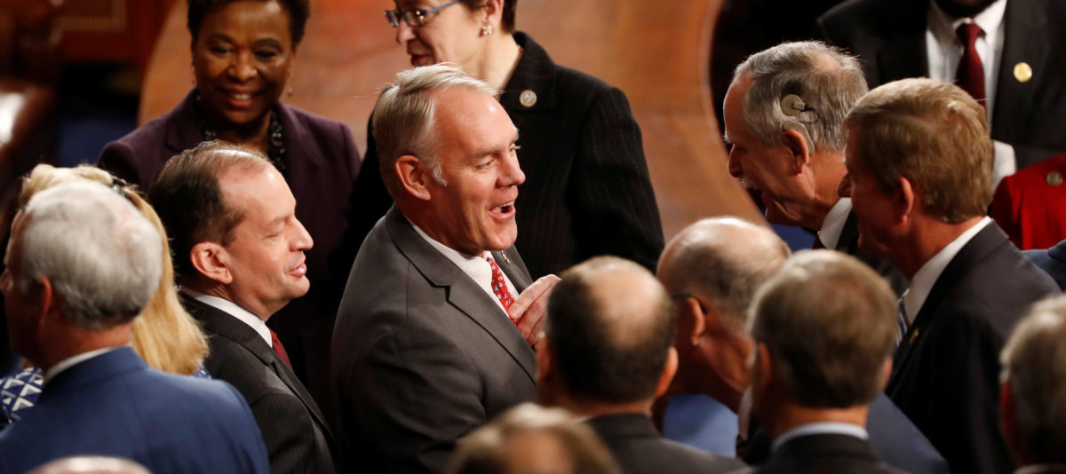 U.S. Interior Secretary Ryan Zinke arrives prior to French President Emmanuel Macron's address to a joint meeting of Congress in the House chamber of the U.S. Capitol in Washington, U.S., April 25, 2018. REUTERS/Aaron Bernstein