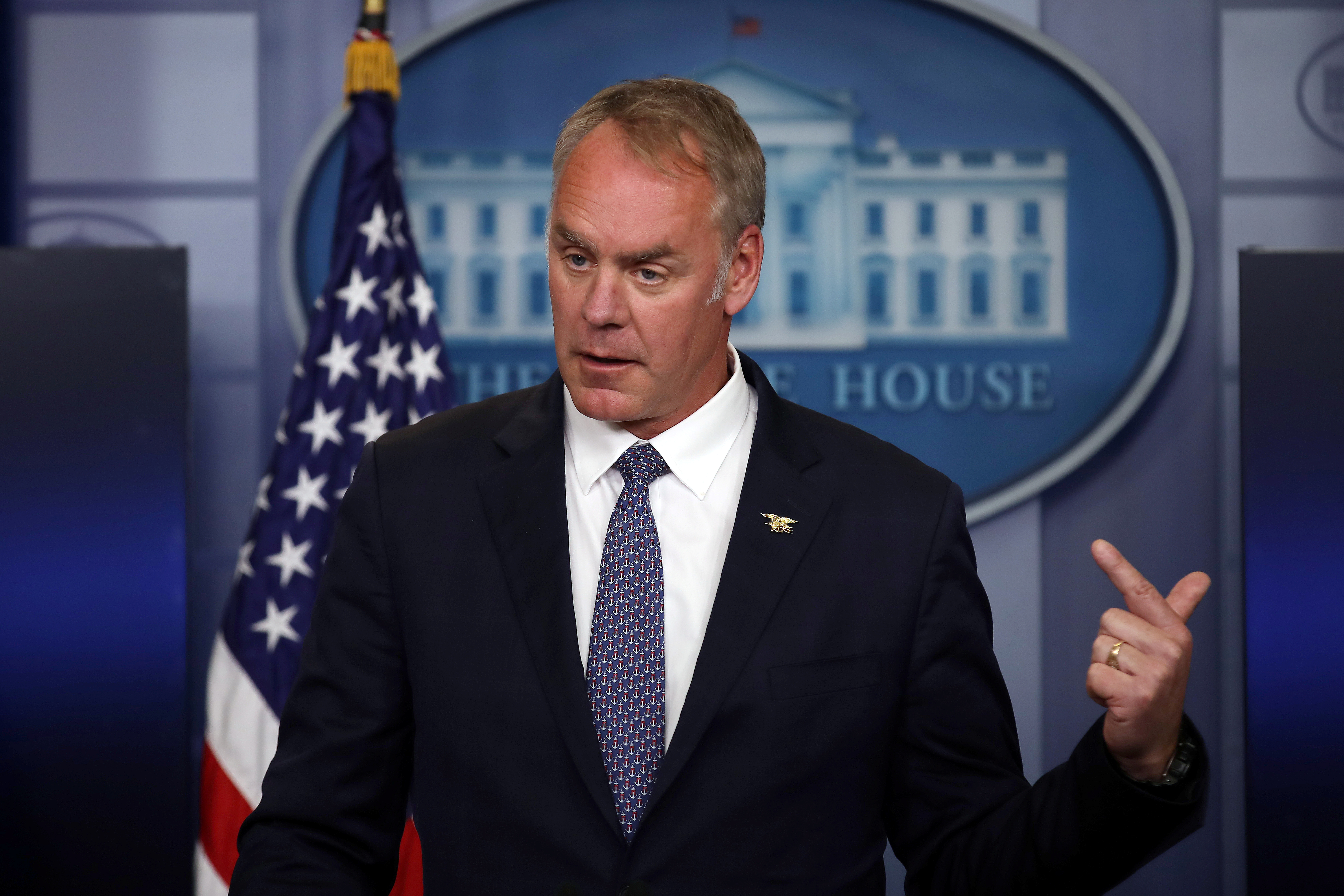 Secretary of the Interior Ryan Zinke speaks during a daily press briefing at the White House in Washington, U.S.