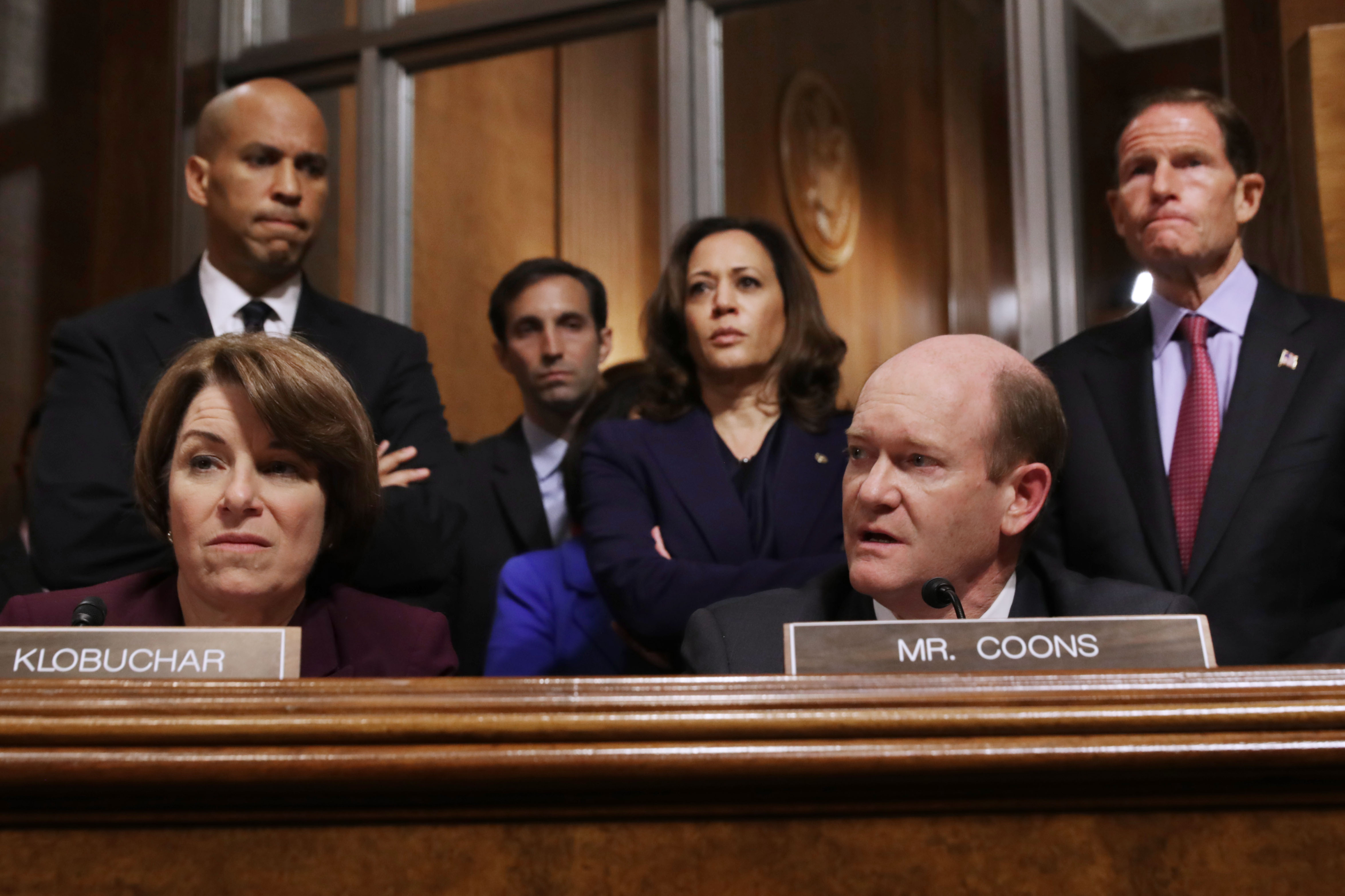 Senate Judiciary Committee members (L-R) Sen. Amy Klobuchar (D-MN), Sen. Cory Booker (D-NJ), Sen. Kamala Harris (D-CA), Sen. Chris Coons (D-DE) and Sen. Richard Blumenthal (D-CT) debate the confirmation of Supreme Court nominee Judge Brett Kavanaugh during a mark up hearing in the Dirksen Senate Office Building on Capitol Hill September 28, 2018 in Washington, DC. (Chip Somodevilla/Getty Images)