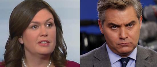 Sarah Sanders (Fox News screengrab) Jim Acosta (Reuters)