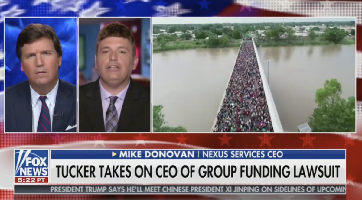 Image result for TUCKER RIPS THE LAWYER THAT FILED A LAWSUIT ON THE MIGRANTS' BEHALF