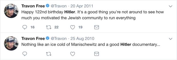 Travon Free, HBO Producer twitter screenshots taken 11/7/2018