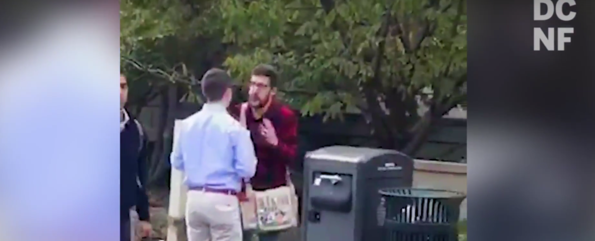A Young Americans for Freedom student activist got screamed at by a social justice warrior at American University on November 7 for an event featuring Dinesh D'Souza. (YouTube/TheDCNF)