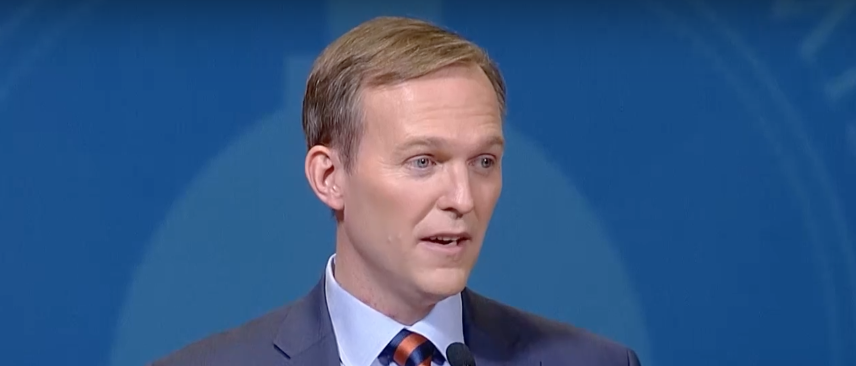 Democratic Salt Lake County Mayor Ben McAdams talks to press after a debate. Screen Shot/YouTube/Utah Debate Commission