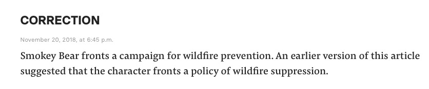 BuzzFeed News Corrects Smokey Bear Reference (Screenshot: November 21, 2018)