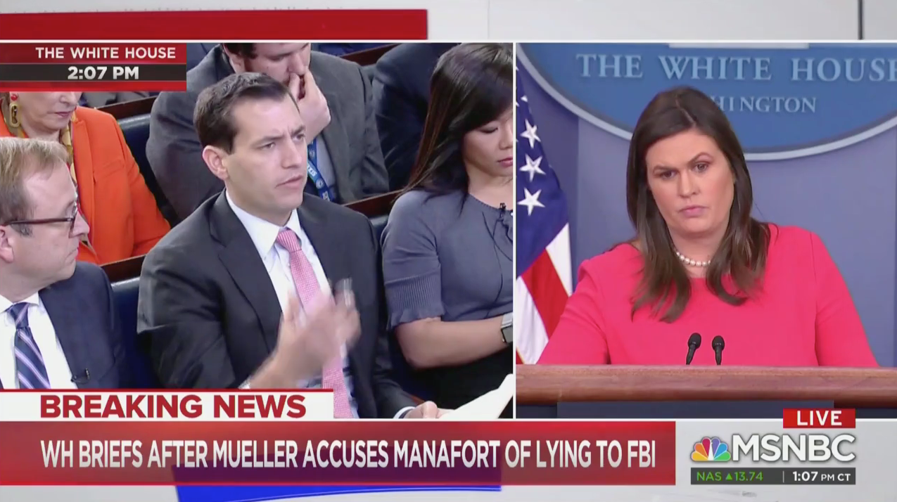 White House Press Briefing With Sarah Sanders (MSNBC Screenshot: November 28, 2018)
