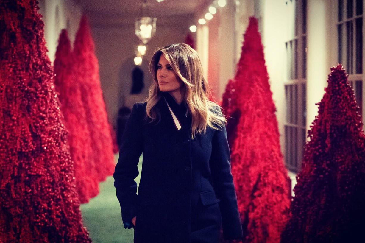 Melania Trump Tours White House Christmas Decorations (@FLOTUS Twitter)