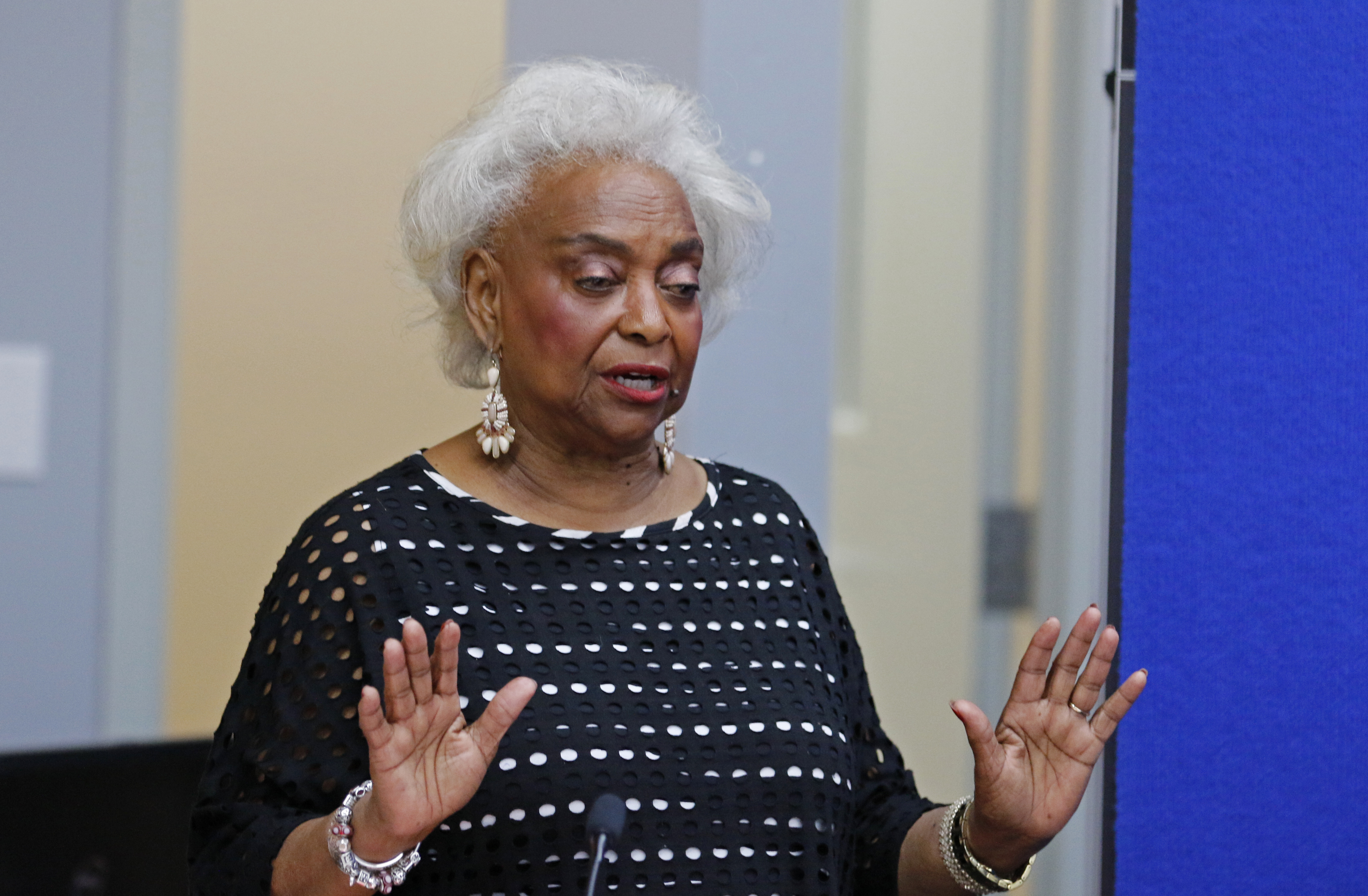 LAUDERHILL, FL - NOVEMBER 10: Dr. Brenda Snipes, Broward County Supervisor of Elections, makes a statement during a canvassing board meeting on November 10, 2018 in Lauderhill, Florida. (Joe Skipper/Getty Images)