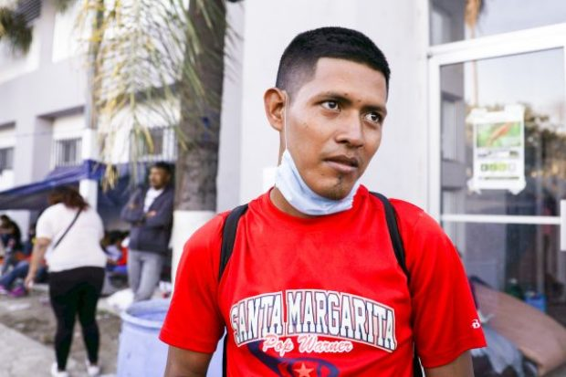 Abel Noe Ratcliff-Ponce, 28, from Honduras, in the migrant camp at Benito Juarez sports complex in Tijuana, Mexico, on Nov. 26, 2018. (Charlotte Cuthbertson/The Epoch Times)