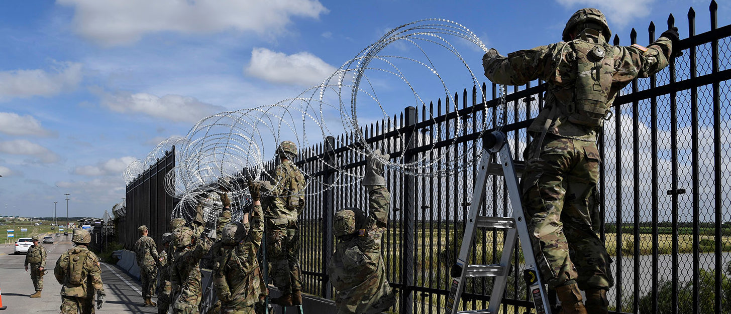 Army engineers install concertina wire on the Anzalduas International Bridge, as Northern Command provides military support to the Department of Homeland Security and U.S. Customs and Border Protection to secure the southern border of the United States in Anzalduas, Texas, U.S., November 5, 2018. Picture taken November 5, 2018. Airman First Class Daniel A. Hernandez/U.S. Air Force/Handout via REUTERS