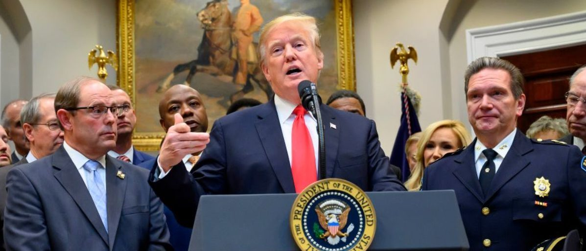 "US President Donald Trump makes an announcement regarding the ""First Step Act"" at the White House in Washington, DC, on November 14, 2018. (JIM WATSON/AFP/Getty Images)"