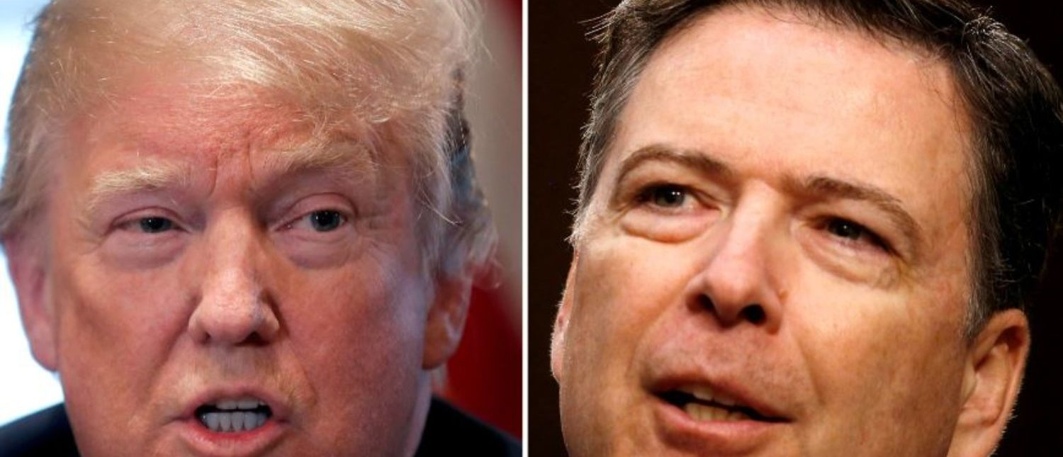 FILE PHOTO: A combination of file photos show U.S. President Donald Trump in the White House in Washington, DC, U.S. April 9, 2018 and former FBI Director James Comey on Capitol Hill in Washington, U.S., June 8, 2017. REUTERS/Carlos Barria, Jonathan Ernst/File Photos/File Photo