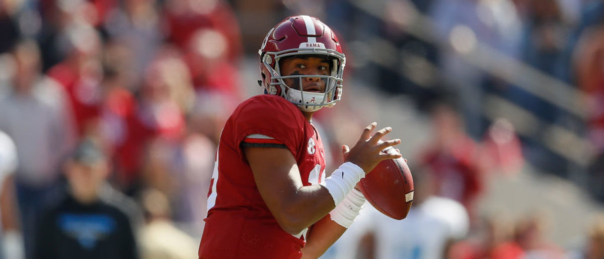 TUSCALOOSA, AL - NOVEMBER 17: Tua Tagovailoa #13 of the Alabama Crimson Tide looks to pass against the Citadel Bulldogs at Bryant-Denny Stadium on November 17, 2018 in Tuscaloosa, Alabama. (Photo by Kevin C. Cox/Getty Images)