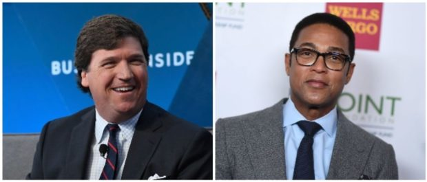 Tucker Carlson and Don Lemon (LEFT: Roy Rochlin/Getty Images RIGHT: ANGELA WEISS/AFP/Getty Images)