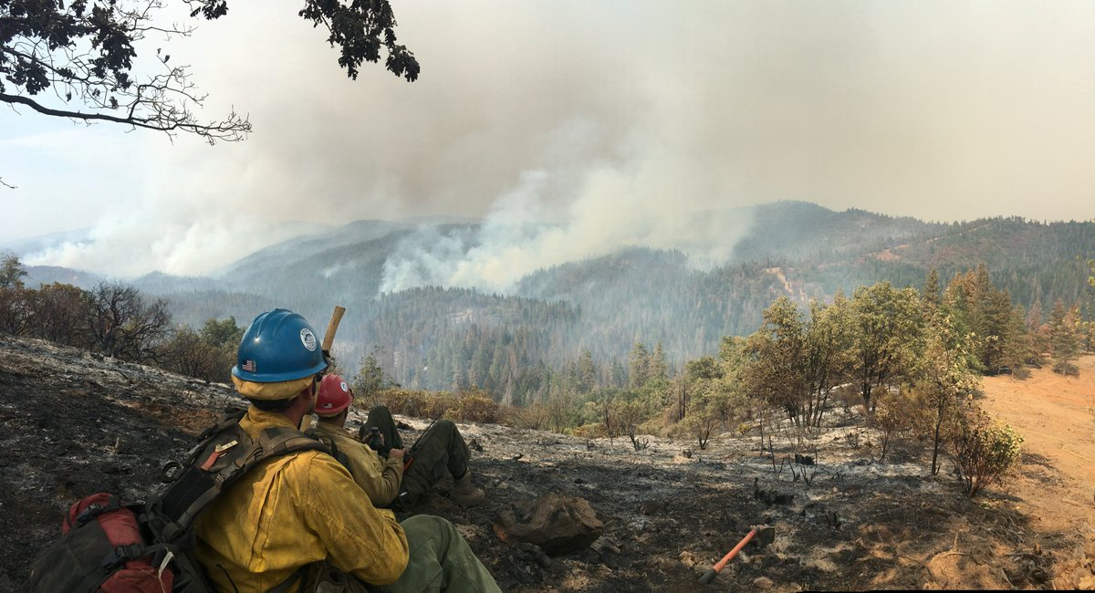 The Sierra Hotshots, from the Sierra National Forest, are responding on the front lines of the Ferguson Fire in Yosemite in this US Forest Service photo from California, released on social media on July 22, 2018. Courtesy USDA/US Forest Service, Sierrra Hotshots/Handout via REUTERS