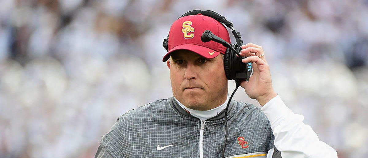 PASADENA, CA - JANUARY 02: USC Trojans head coach Clay Helton reacts during the 2017 Rose Bowl Game presented by Northwestern Mutual against the Penn State Nittany Lions at the Rose Bowl on January 2, 2017 in Pasadena, California. (Photo by Harry How/Getty Images)
