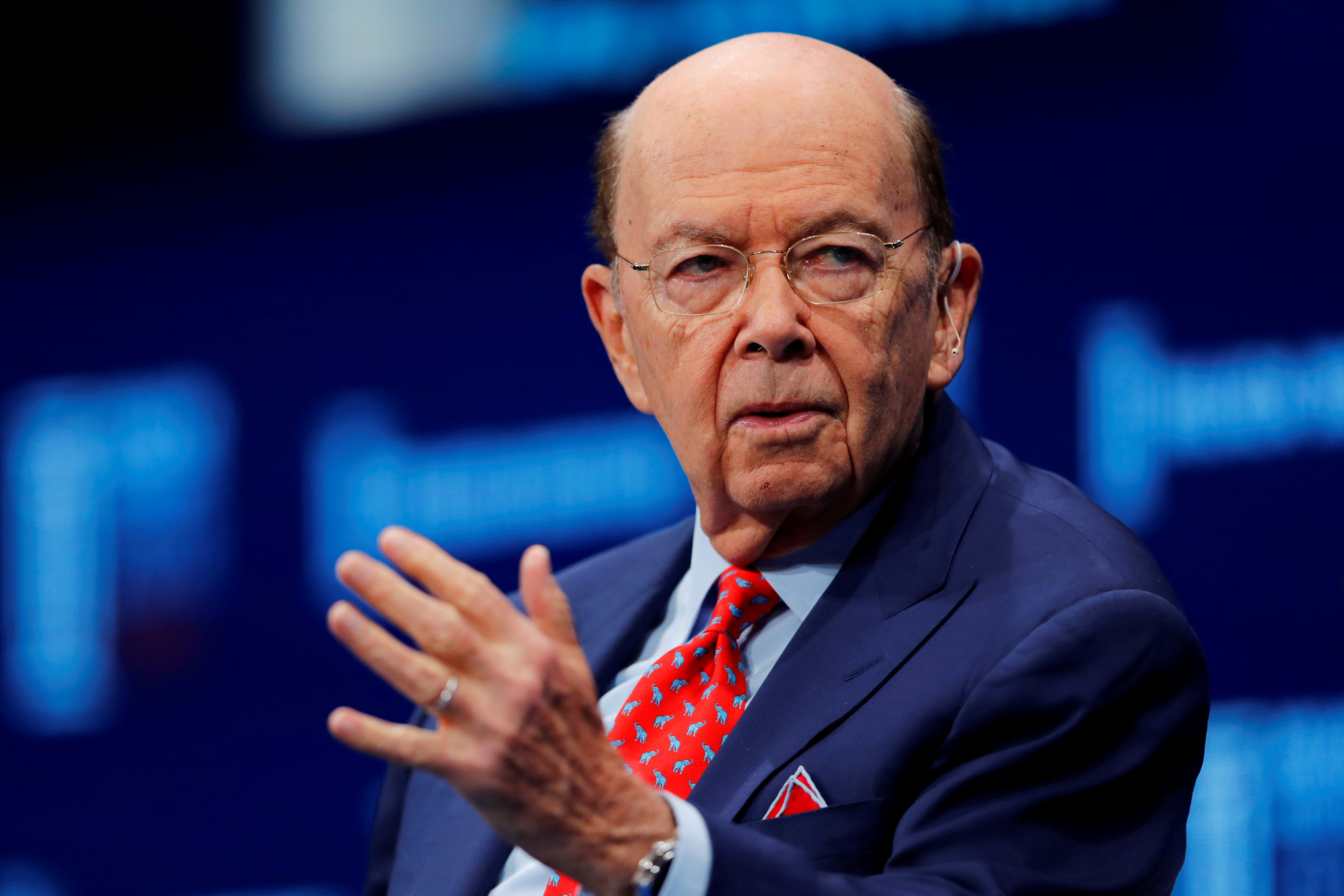 Wilbur L. Ross Jr., Secretary, U.S. Department of Commerce, speaks at the Milken Institute 21st Global Conference in Beverly Hills, California, U.S., May 1, 2018. REUTERS/Mike Blake