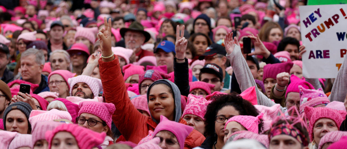 People gather for the Women's March in Washington U.S., Jan. 21, 2017. REUTERS/Shannon Stapleton