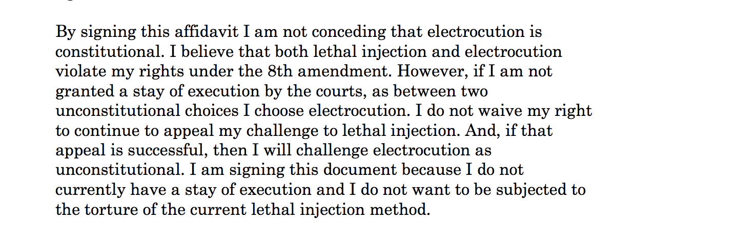 Edmund Zagorski's statement concerned his method of execution. (Screenshot)