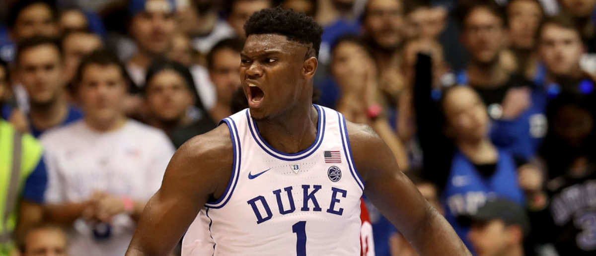 DURHAM, NC - NOVEMBER 27: Zion Williamson #1 of the Duke Blue Devils reacts against the Indiana Hoosiers during their game at Cameron Indoor Stadium on November 27, 2018 in Durham, North Carolina. (Photo by Streeter Lecka/Getty Images)