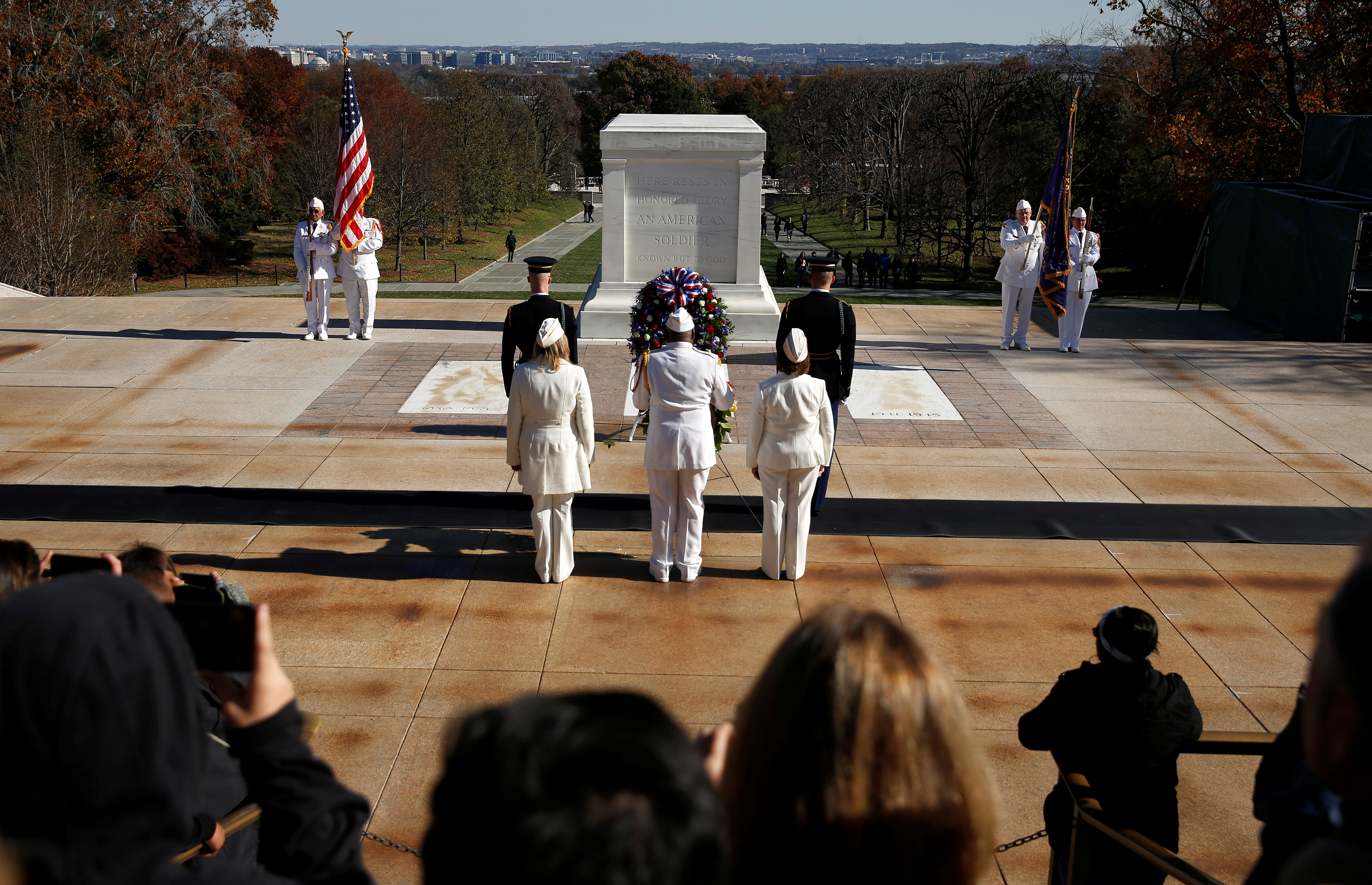 Members of the Veterans of Foreign Wars place a wreath at the Tomb of the Unknown Soldier on Veteran's Day at Arlington National Cemetery in Arlington, Virginia, U.S., November 11, 2018. REUTERS/Joshua Roberts