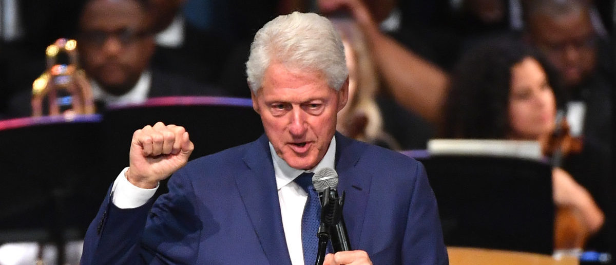 Former U.S. President Bill Clinton speaks during Aretha Franklin's funeral at Greater Grace Temple on Aug. 31, 2018 in Detroit, Michigan. (ANGELA WEISS/AFP/Getty Images)