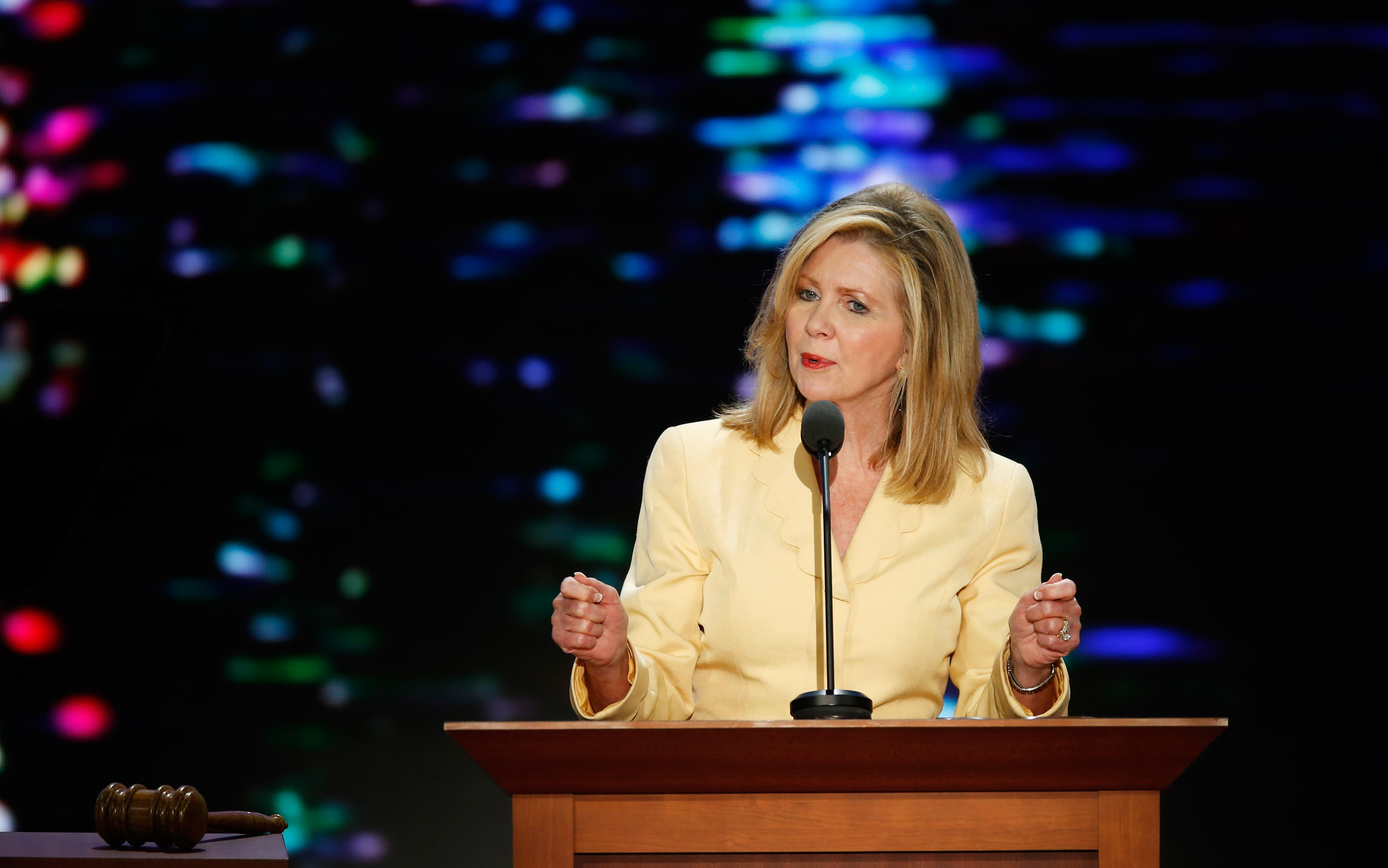 Republican National Convention Committee on Resolutions Co-Chairman U.S. Rep. Marsha Blackburn (R-TN) addresses delegates during the second session of the Republican National Convention in Tampa, Florida, August 28, 2012. REUTERS/Mike Segar