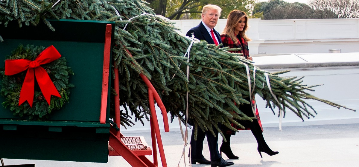 US President Donald Trump and First Lady Melania Trump participate in the White House Christmas Tree delivery at the White House in Washington, DC, on November 19, 2018. (Photo by Jim WATSON / AFP) (Photo credit should read JIM WATSON/AFP/Getty Images)