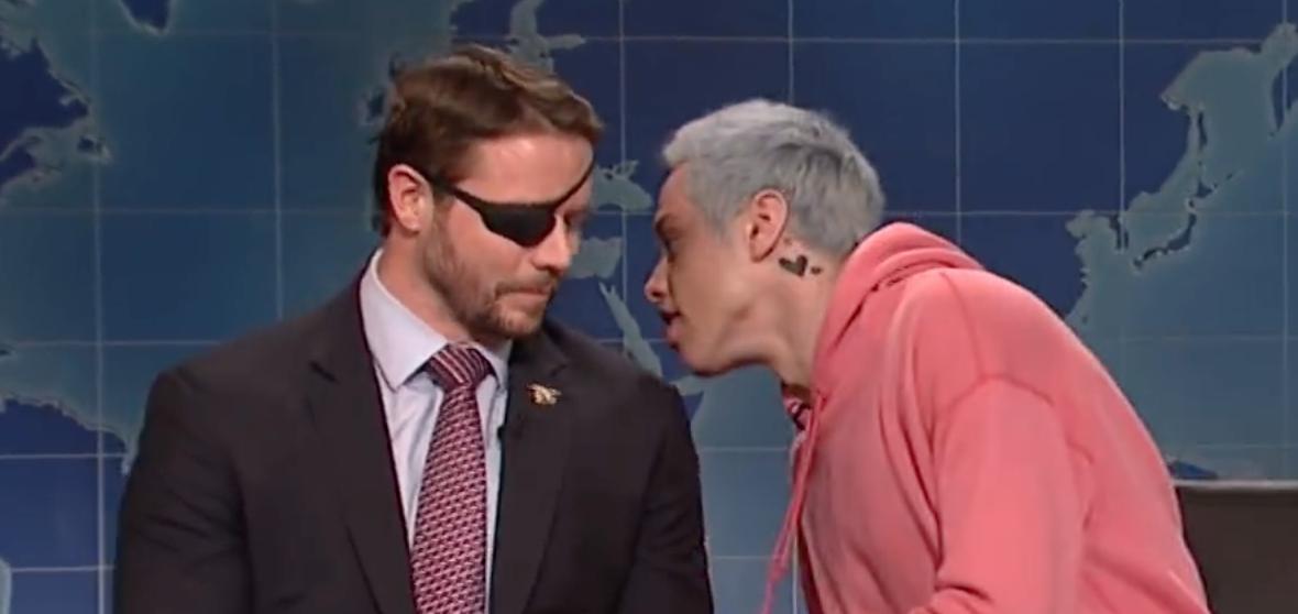 "Pete Davidson and Dan Crenshaw appear on ""Saturday Night Live,"" 11/10/18/Screen Shot/NBC"