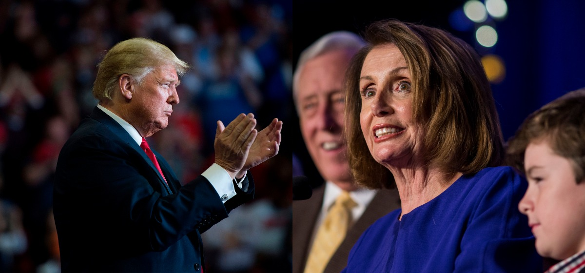 House Minority Leader Nancy Pelosi (D-CA), joined by House Democrats, delivers remarks during a DCCC election watch party at the Hyatt Regency on November 6, 2018 in Washington, DC. US President Donald Trump attends a Make America Great Again rally in Cape Girardeau, Missouri on November 5, 2018. (Photo credit JIM WATSON/AFP/Getty Images/Zach Gibson/Getty Images)