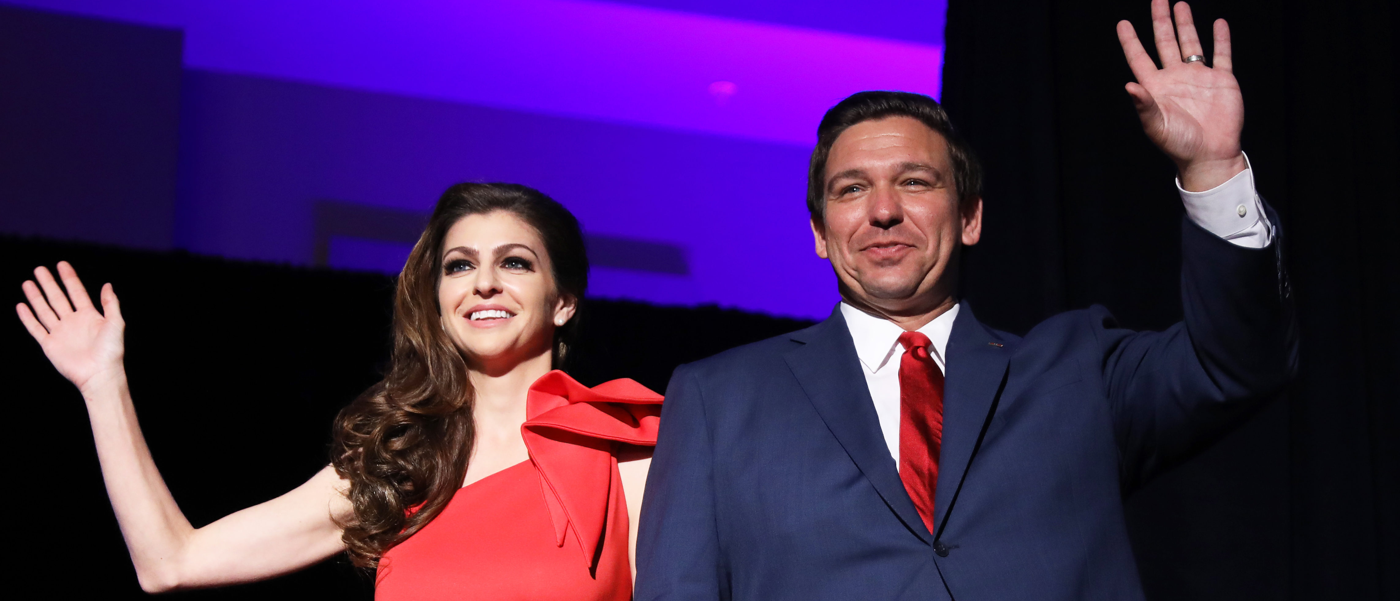 Republican gubernatorial candidate Ron DeSantis and his wife Casey react after appearing at his midterm election night party in Orlando, Florida, U.S. November 6, 2018. REUTERS/Carlo Allegri