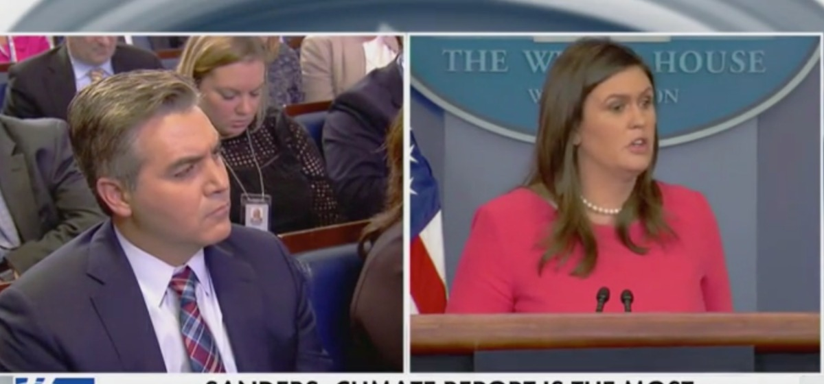 Jim Acosta Gets First Question After WH Ban - Sarah Sanders Lets Him Have It: 'That's Not True' [Screenshot/Fox News]