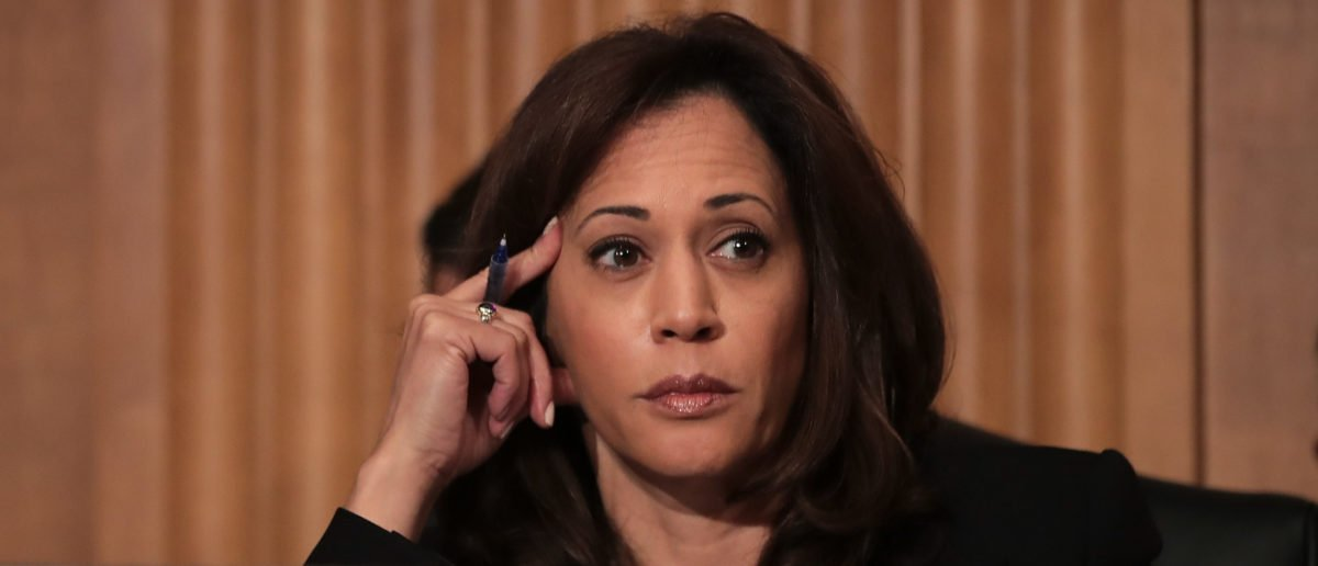 Sen. Kamala Harris (D-CA) listens during a Senate Committee on Homeland Security and Governmental Affairs hearing concerning threats to the homeland, September 27, 2017 in Washington, DC. (Drew Angerer/Getty Images)