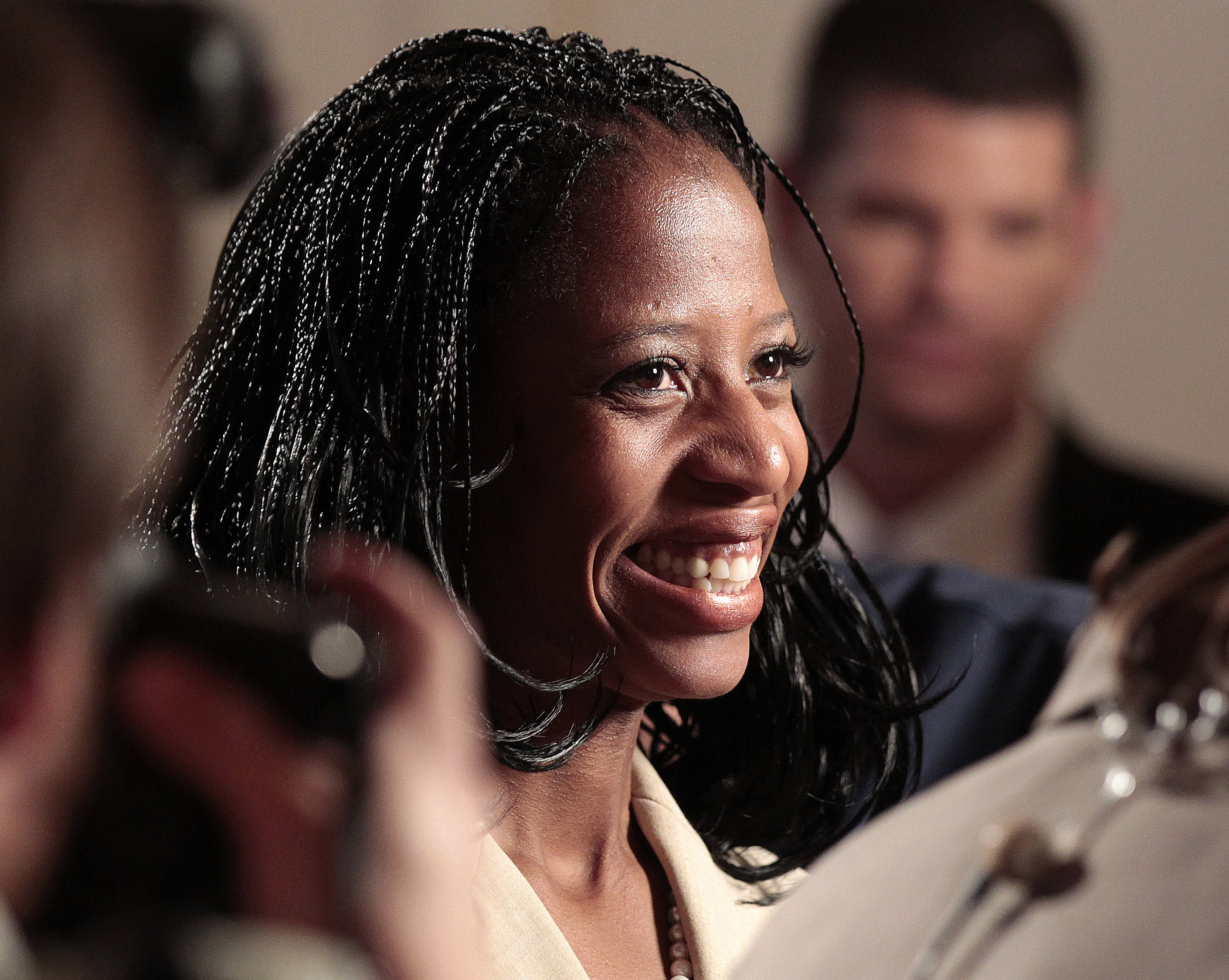 Mia Love, the Republican candidate for the 4th congressional district, talks to the press from the party headquarters as results come in for the U.S. presidential election in Salt Lake City, Utah, November 6, 2012. REUTERS/George Frey
