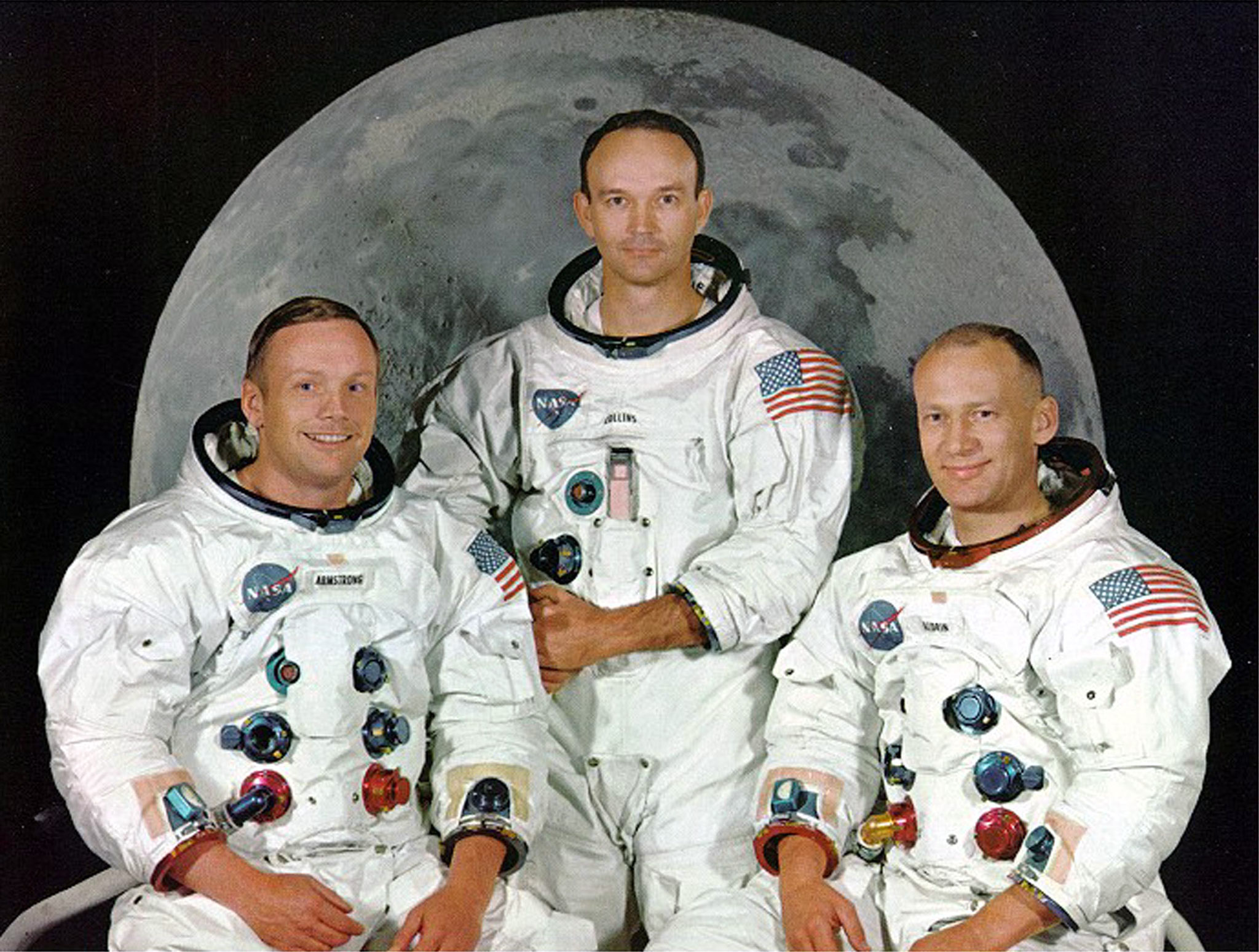 "- UNDATED FILE PHOTO - Apollo 11 astronauts (L-R) Neil Armstrong, Michael Collins and Edward ""Buzz Aldrin pose in this file photo. The 30th anniversary of the Apollo 11 mission is July 16 (launch) and July 20 (landing on the moon)."