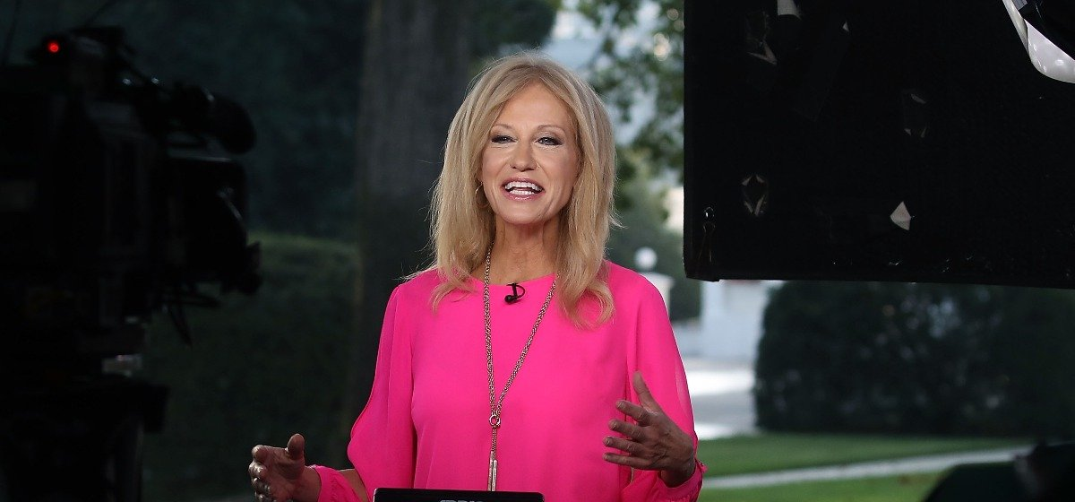 White House Counsel, Kellyanne Conway appears on a morning television show, from the North Lawn of the White House on August 17, 2018 in Washington, DC. According to recent reports, Conway's husband, George Conway, are at possible odds over his criticism of US President Trump. (Photo by Mark Wilson/Getty Images)