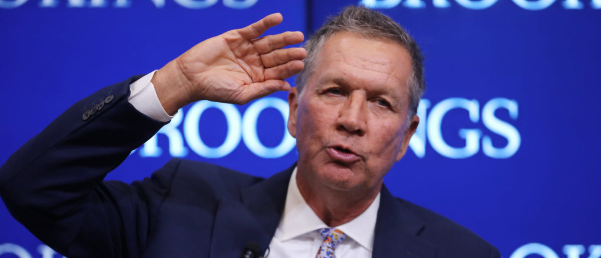 Ohio Gov. John Kasich participates in a discussion as part of the Brookings Institution's Middle Class Initiative October 10, 2018 in Washington, DC. Kasich, a Republican, and Colorado Gov. John Hickenlooper, a Democrat, participated in the discussion and found common ground on issues related to the economy, trade, education and other areas. Both governors are seen as potential 2020 presidential candidates. (Photo by Chip Somodevilla/Getty Images)