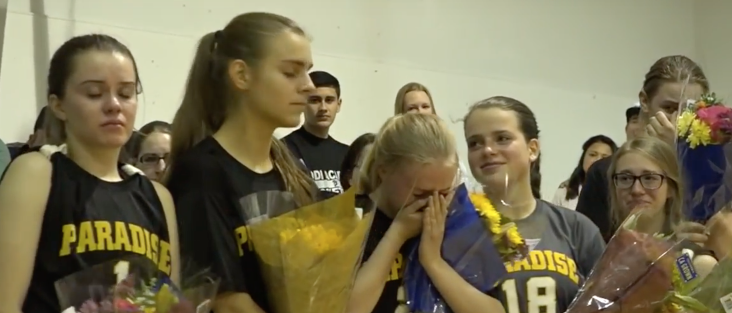 Paradise Adventist Academy's volleyball team surprised by opponents at Forest Lake Christian. Screen Shot/YouTube/V T