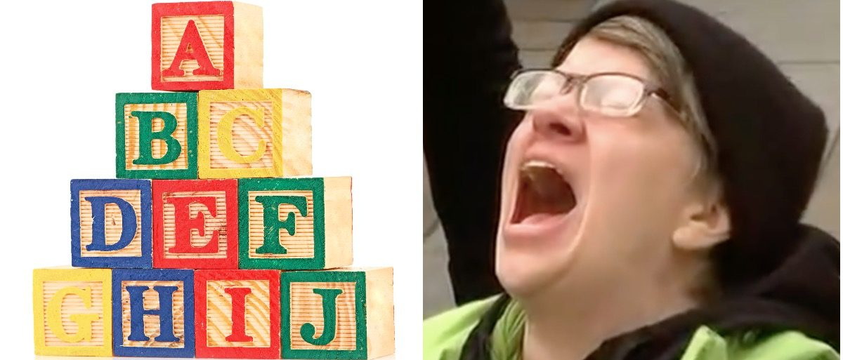 Wooden cube alphabet and screaming protester (LEFT: Nata-Lia/Shutterstock RIGHT: YouTube screenshot)
